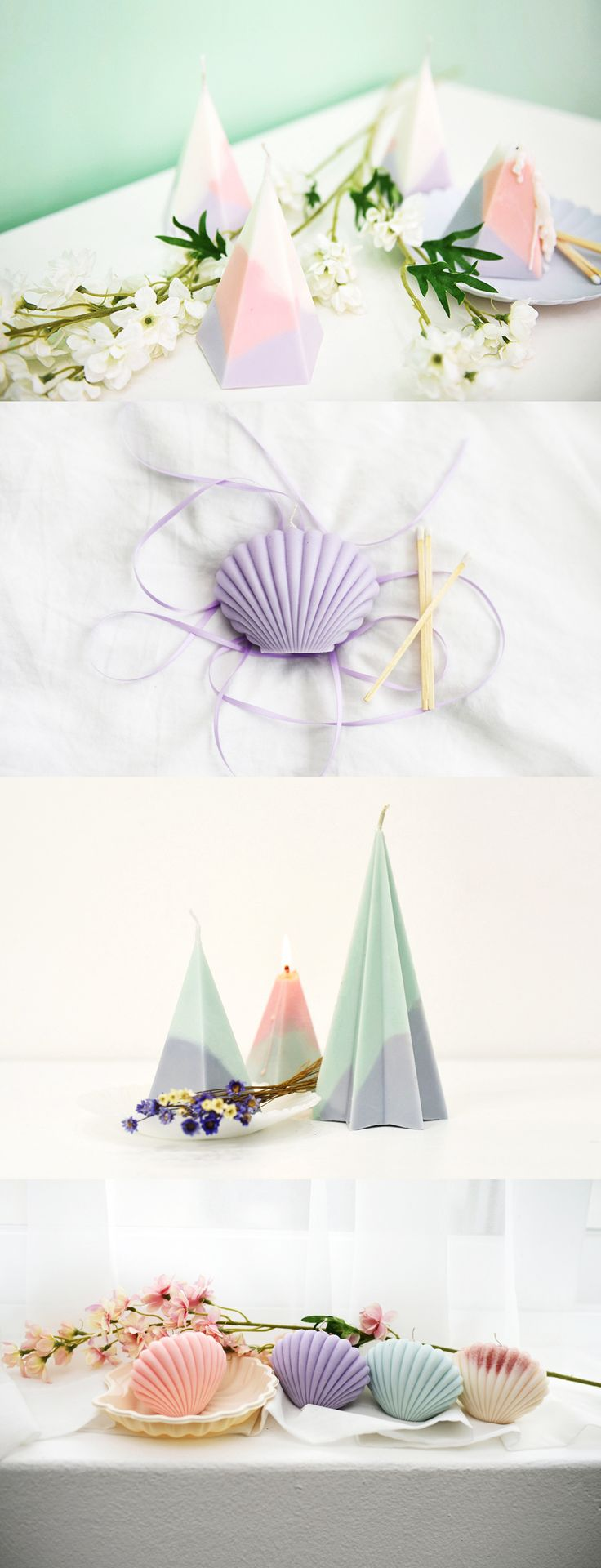 These shell cones and candles are cute