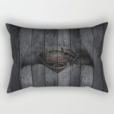 Bat and Man of Steel Rectangular Pillow