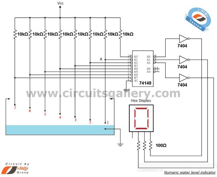 ❧ Numeric water level indicator- liquid level sensor circuit diagram with 7 segment display