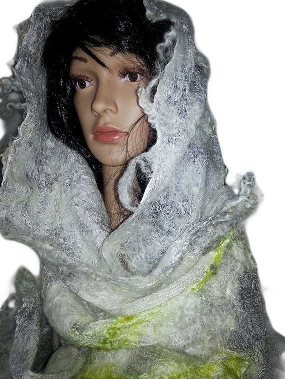 Accessories,SCARF, Women Scarf, Natural silk and fleece,Felted Scarf, Wrap Scarf, fashion scarf,Light fleece scarf,gift for women,