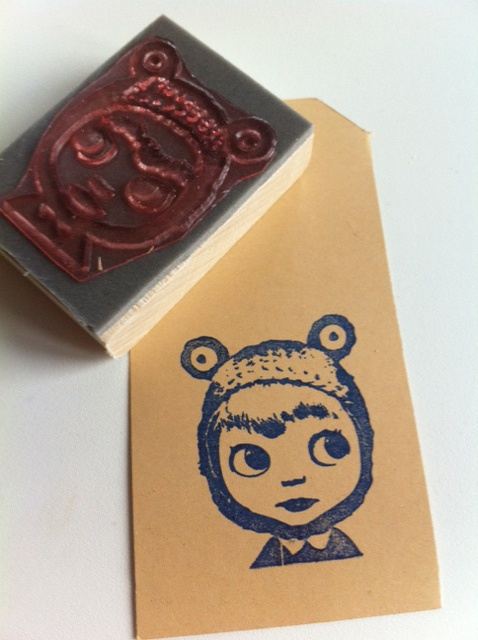 Stamp of a blythe doll, made by studio stempel. If you want your own favorite blythe doll in a stamp, take a look at www.studiostempel... or email me at mailto:studiostem...