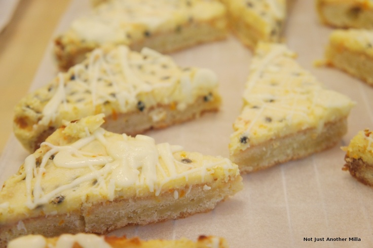 Passion fruit and white chocolate slices