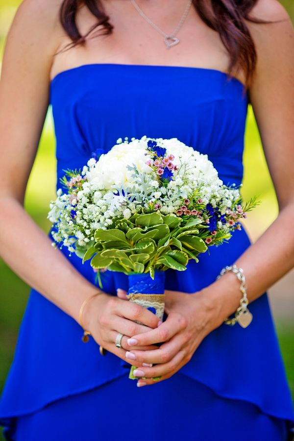Bridesmaid in Blue + White and Blue Bouquet Rustic Country Wedding at Lake Oak Meadows Photographer:  Kayden Studios