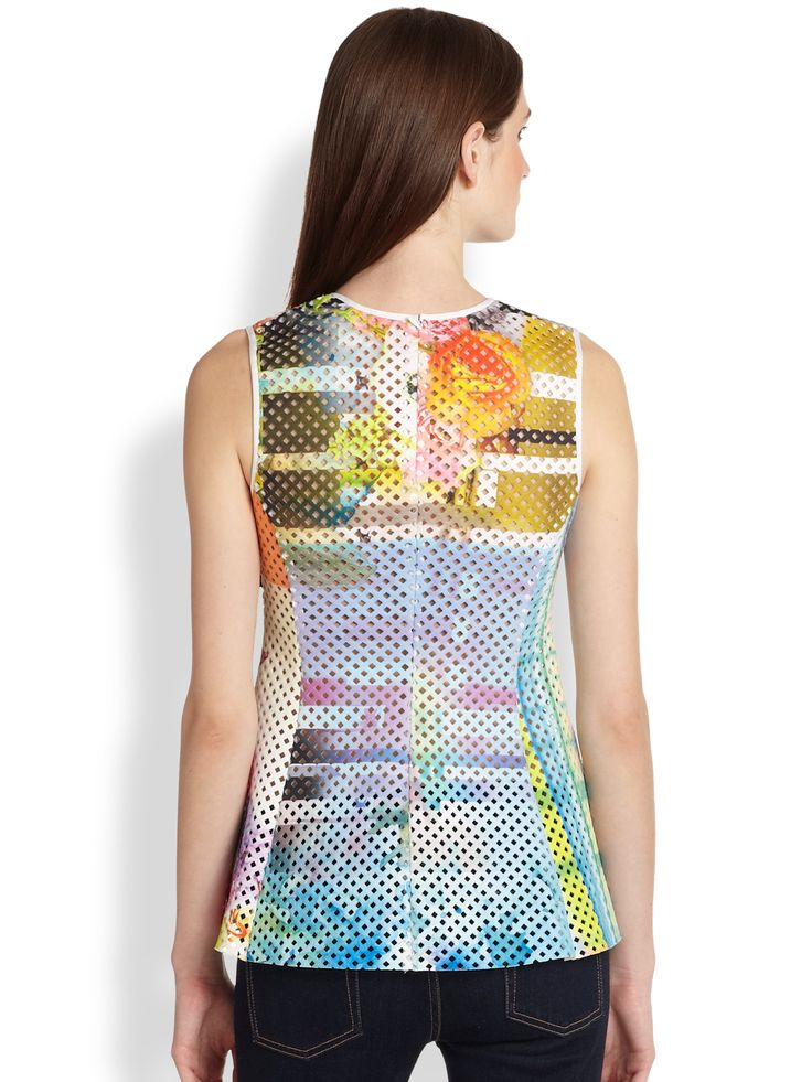Image result for Clover Canyon Fluorescent Lights Printed Laser-Cut Peplum Top