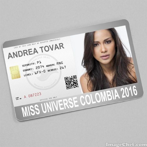 Andrea Tovar Miss Universe Colombia 2016 card