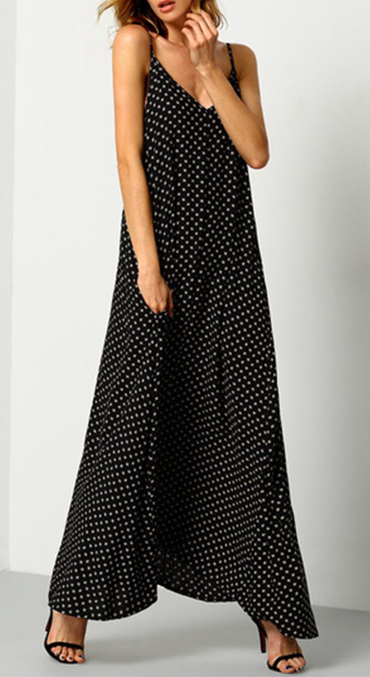A perfect boho sundress if matching it with a hipster neckline. Black Braces Deep V Neck Floral Houndstooth Print Cami Slip Dress from shein.com.