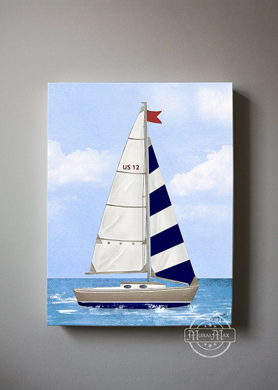 Nautical Canvas Nursery Print for your little Boys room. Set of two (each 8x 10) Canvas Nursery Art of my original illustrations. This beautiful design includes a Two beautiful sailboat canvas print . This amazing collection is shown in Navy and Yellow. The image wraps around the sides of the wooden frame canvas, and is ready to hang. This design adds dimension, and interest from any viewing angle. Made with high quality printing materials, and a clear coated finish to last a life time…