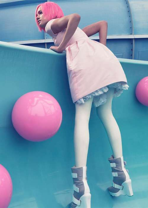 Cotton Candy Pink Hair - Natalia Vodianova Shows She Has Balls In This W Magazine Layout