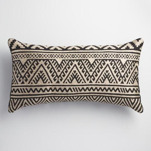 One of my favorite discoveries at WorldMarket.com: Black and Taupe Kilim Indoor Outdoor Lumbar Pillow