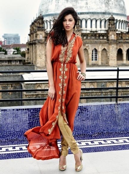 Karishma Kimatrai Rustic Orange Capri Indo-western Outfit