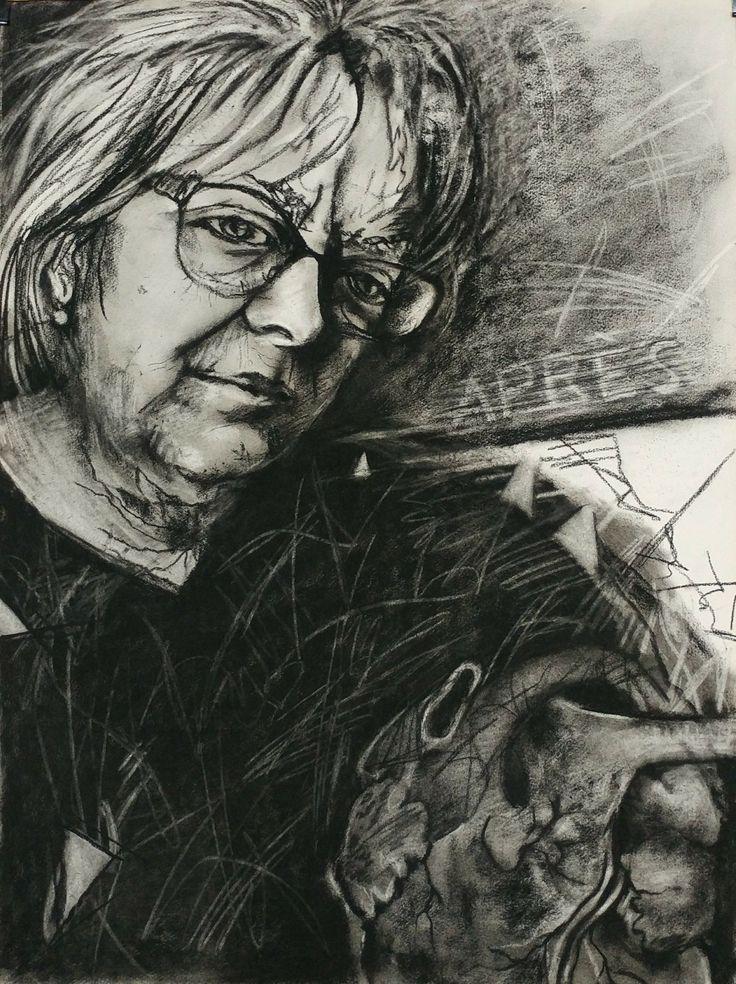 """Et après...(self-portrait), Charcoal on paper, 22"""" x 30"""""""