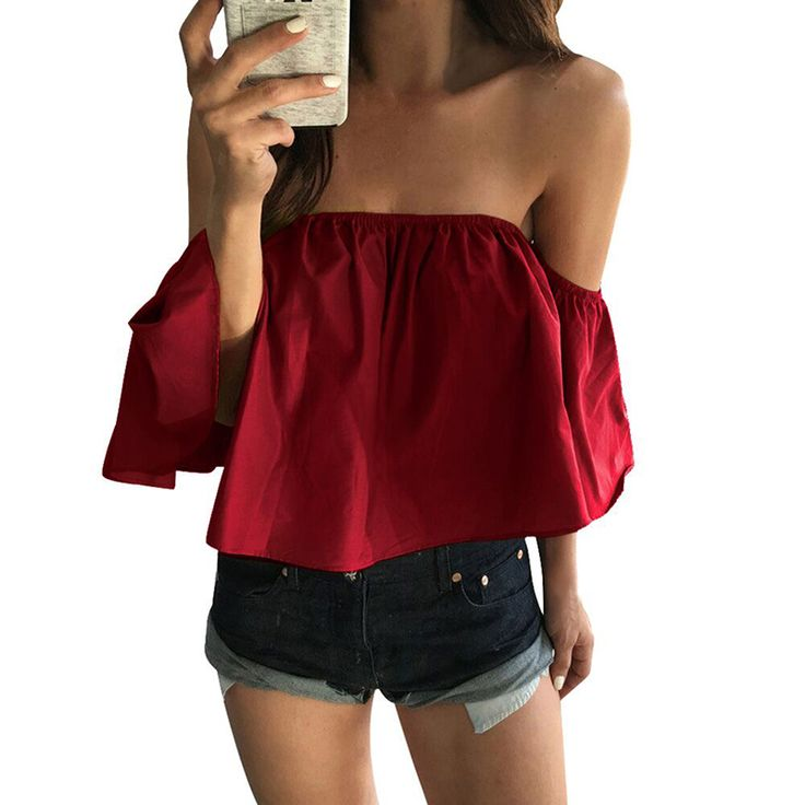 2017 Summer Blouse Women Sexy Fashion Casual off Shoulder Tops Sleeveless Blouse Work Wear Party Wear Elegant Shirts Red Khaki