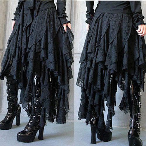 Black Emo Gothic Punk Scene Asymmetrical Full Long Skirts Clothing SKU-11406009