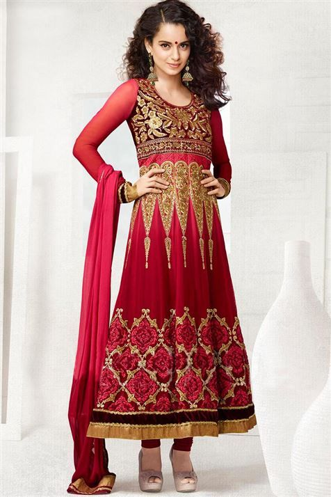 Alluring Kangana Ranaut Fire Brick Georgette Thread Work Anarkali Suit