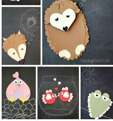 6 Easy heart shaped animals - Valentine's day cards // Szív állatok papírból - egyszerű Valentin napi képeslapok gyerekeknek // Mindy - craft tutorial collection // #crafts #DIY #craftTutorial #tutorial