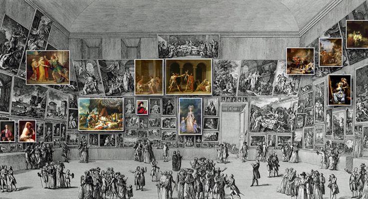 Salón de 1783 - al centro Maria Antonieta y sus dos primeros hijos ,de Adolf-Ulrick Wertmuller  arriba el juramento de los Horacios de Luis David,a la derecha el autorretrato de Madame Labille - Guiard
