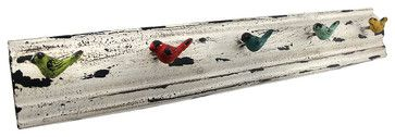 Distressed Metal Multicolor Birds Wall Mounted Coat Rack eclectic-wall-hooks