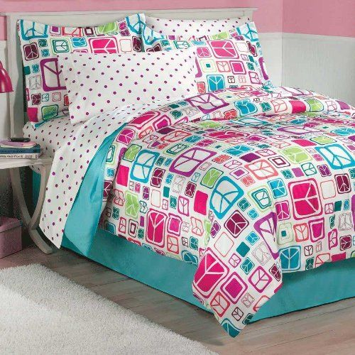 Retro Peace Signs Turquoise Pink Girls Comforter Set From