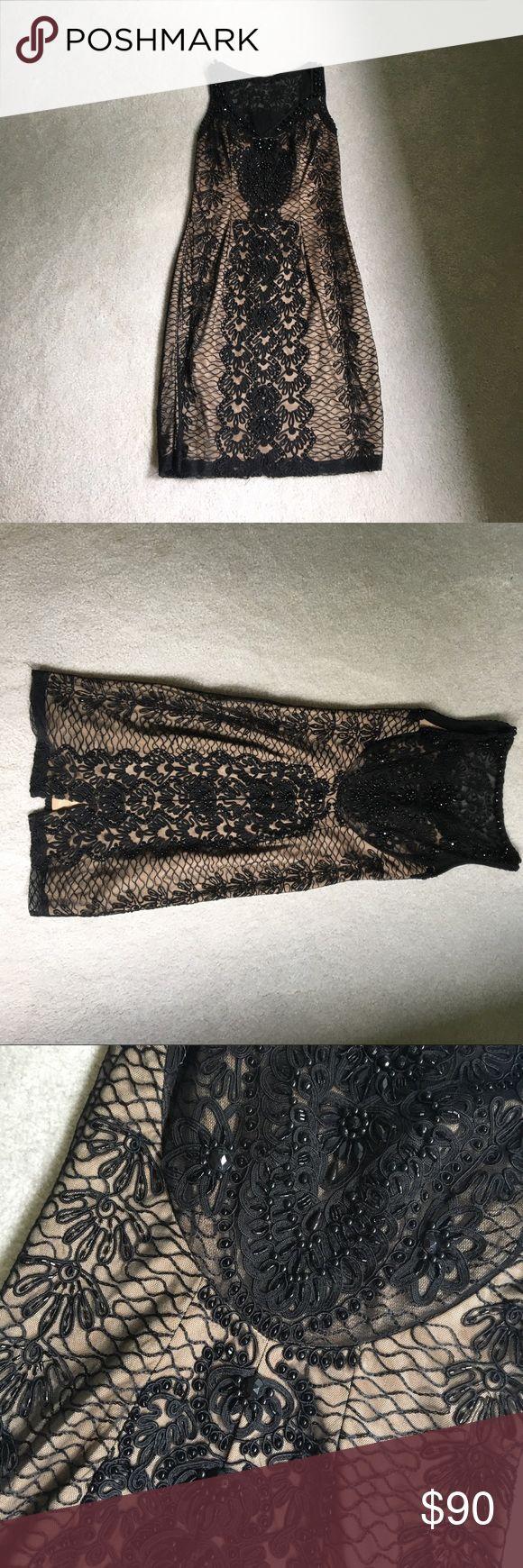 Sue Wong lace black dress Lace and sparkle embellished tan and black dress Sue Wong Dresses Mini