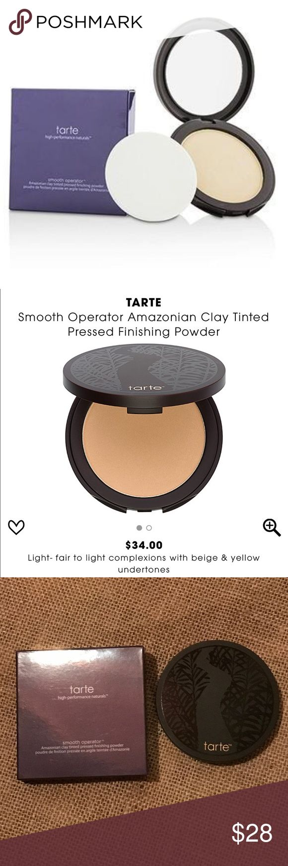 TARTE SMOOTH OPERATOR AMAZONIAN FINISHING POWDER TARTE Smooth Operator Amazonian Clay Tinted Pressed Finishing Powder In Light. This whisper-light mineral pressed powder allows skin to breathe while treating it with soothing vitamins and minerals. This powder contains Skinvigorating™ ingredients vitamins A and E, antioxidants that fight free radical damage, and mineral pigments, known for soothing and softening properties. No Parabens, Sulfates & Phthalates. The box has some wear to it but…