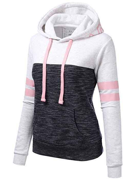 b5de10daf95 NINEXIS Womens Long Sleeve Arm Double Line Color Block Pullover Hoodie  Sweatshirt Oatmeal L at Amazon Women s Clothing store