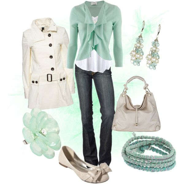 Outfit: Shoes, Dreams Closet, Clothing, Jackets, Things, Mint Colors, Spring Outfits, Cream, Coats