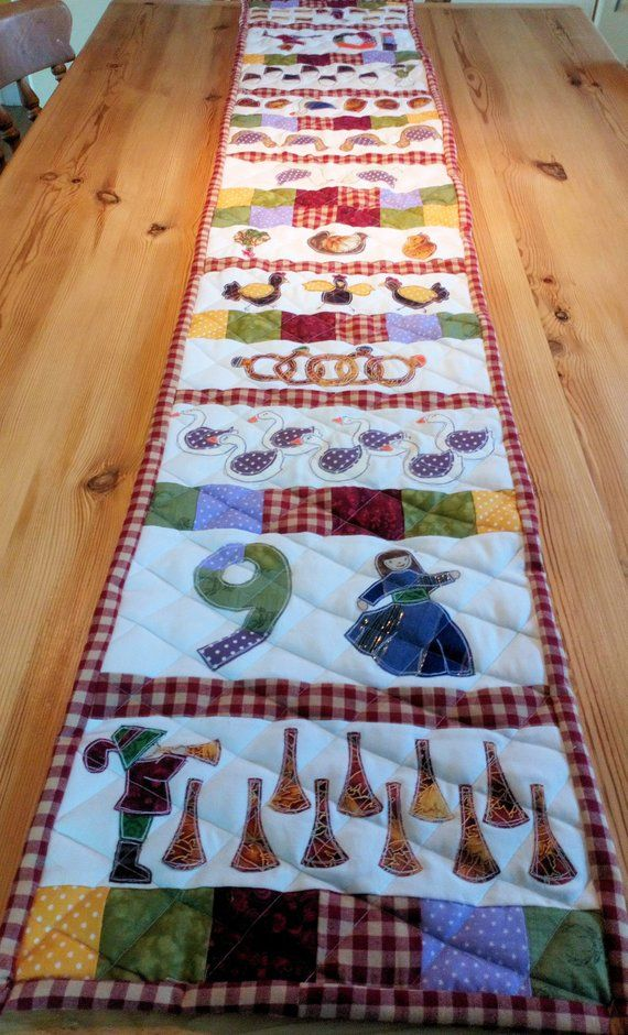 12 Days Of Christmas Table Runner Hand And Machine Applique Instant Download Pattern Home Sweet Home Gifts Christmas Christmas Table Runner Home Gifts Christmas Table