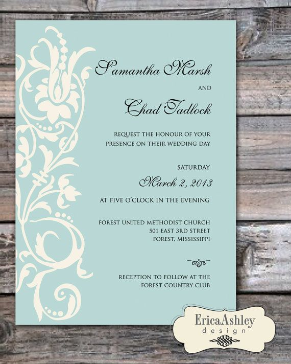 Tiffany Blue - Wedding Invitation - 5 X 7 - Professionally Printed - Linen Texture - Envelopes Included (Digital File Version Available)