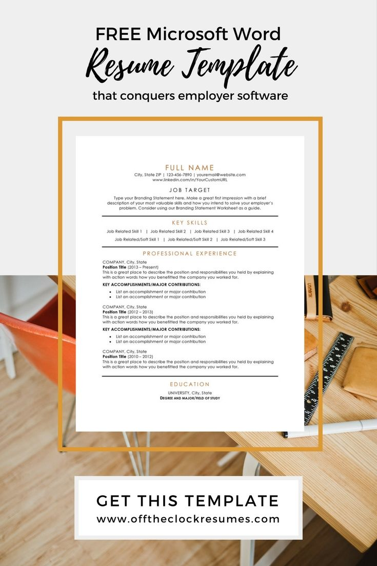 Pass Applicant Tracking software (ATS) with this modern and one of our most popular resume designs! Download this free, Microsoft Word resume template from Off The Clock Resumes today | Resume Tips, Job Search Tips