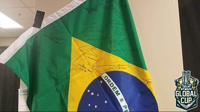 Joao Ricardo Vieira proudly carrying Team Brazil flag and colors