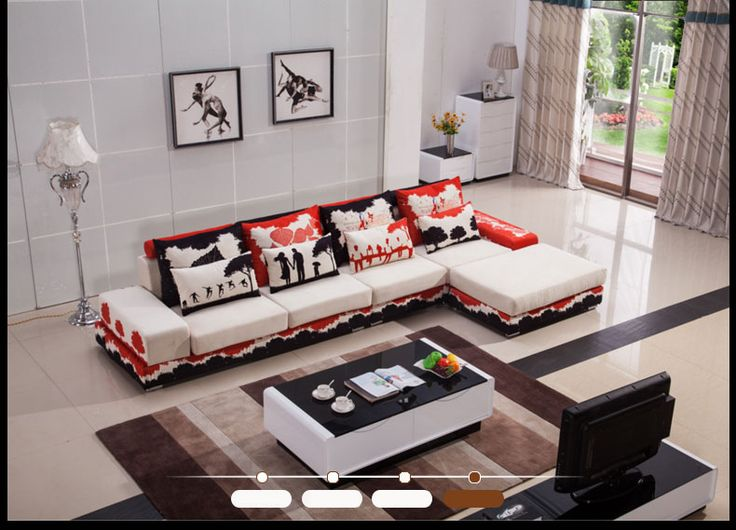 Яркий черно-красный диван в белой обивке с мягким основанием с каркасом из массива дерева можно купить https://lafred.ru/catalog/catalog/detail/40883884215/