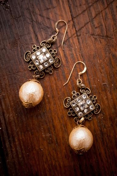 Luster Earrings...these beautiful drop earrings are approximately 2 inches in length with 14K gold-filled French hooks, vintage cotton pearls, bead caps, and brass setting featuring vintage Swarovski crystals...from Bourbon and Boots
