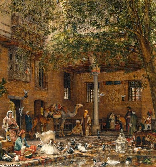 John Frederick Lewis ,The Courtyard of the Coptic Patriarch's House in Cairo.