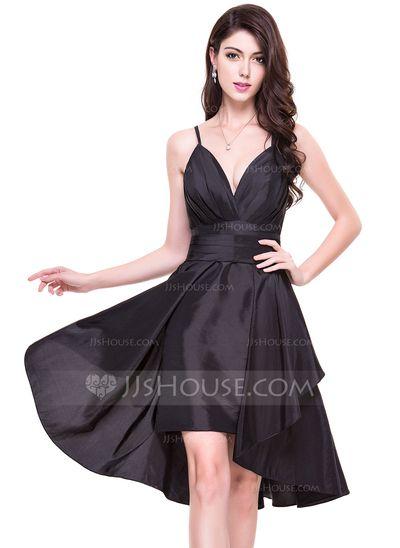 [AU$119.00] A-Line/Princess V-neck Asymmetrical Detachable Taffeta Cocktail Dress With Ruffle