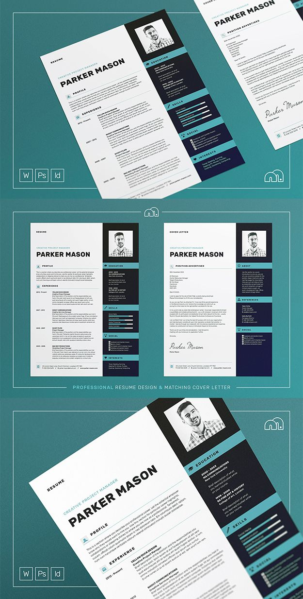 Professional modern ResumeCV Template with matching cover