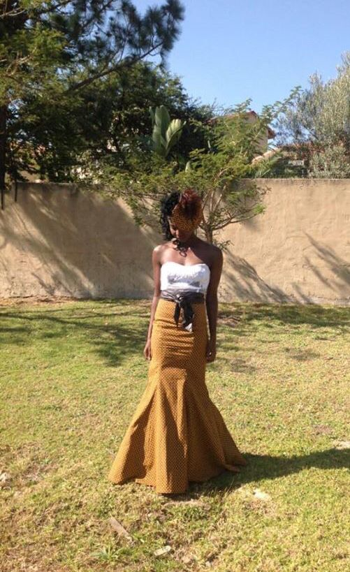 Lace and shweshwe dress