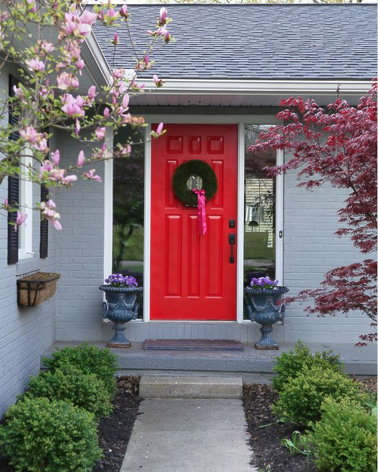 Grey Brick Bright Red Door Grey House Color Door