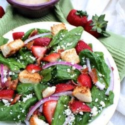 Strawberry Salad-made this for dinner last night and added a grilled chicken breast.  It was fantastic!!  When I make it again, and I definitely will, I would reduce the amount of red wine vinegar in the dressing and up the Dijon mustard a bit.  It was a huge hit either way!