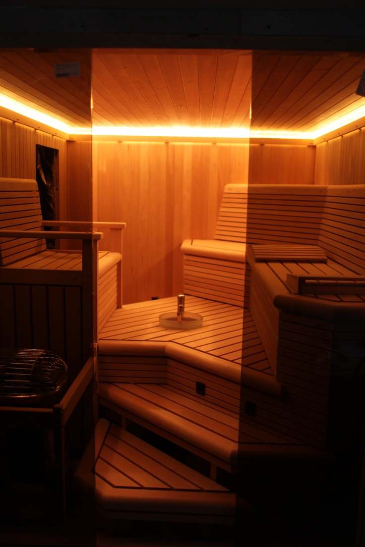 Beautiful Custom sauna on Staten Island with custom lighting sink and benches