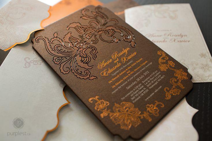 Anne + Eduardo's Indonesian Batik Lasercut Wedding Invitation
