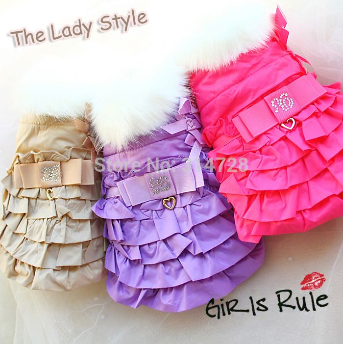 Free shipping  ON SALE winter Faux fur collar dog parka cotton padded vest dress coat  puppy pet frock clothes apparel