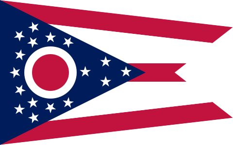 """Ohio's state flag adopted 1902.Ohio burgee, as the swallowtail design is properly called,designed by John Eisemann.Large blue triangle represents Ohio's hills and valleys, stripes represent roads and waterways.13 stars grouped about the circle represent the original states of the union; 4 stars added to the peak of the triangle symbolize that Ohio was the 17th state.White circle with its red center not only represents the """"O"""" in Ohio, but also suggests Ohio's famous nickname,""""The Buckeye…"""