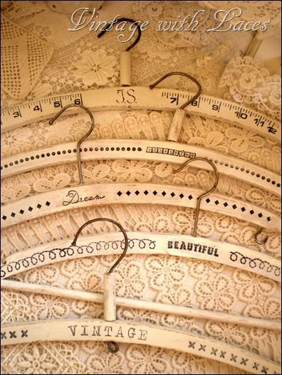 stamped vintage clothes hangers...