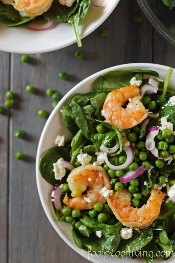Spinach, Pea and Shrimp Salad