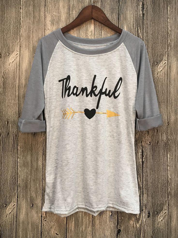 Thankful Printed Raglan Tee Shirt