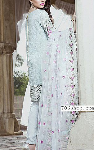 Sky Blue Chiffon Suit | Buy Embroyal Luxury Pakistani Dresses and Clothing online in USA, UK