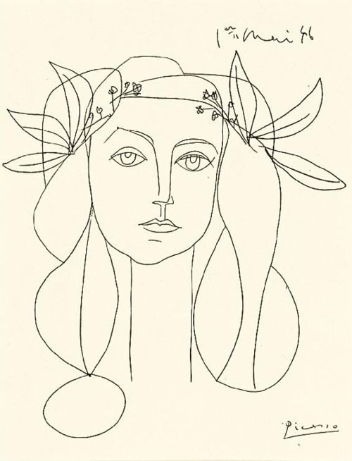 MEGATTIC: Pablo Picasso, Head, 1948. Ink on paper. 1er mai 1946