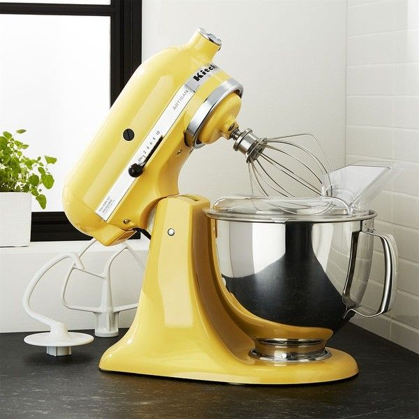 Crate & Barrel KitchenAid ® Artisan Buttercup Stand Mixer ($460) ❤ liked on Polyvore featuring home, kitchen & dining, small appliances, crate and barrel, heavy duty mixer, kitchen aid small appliances, kitchen aid stand mixers and kitchenaid heavy duty stand mixer