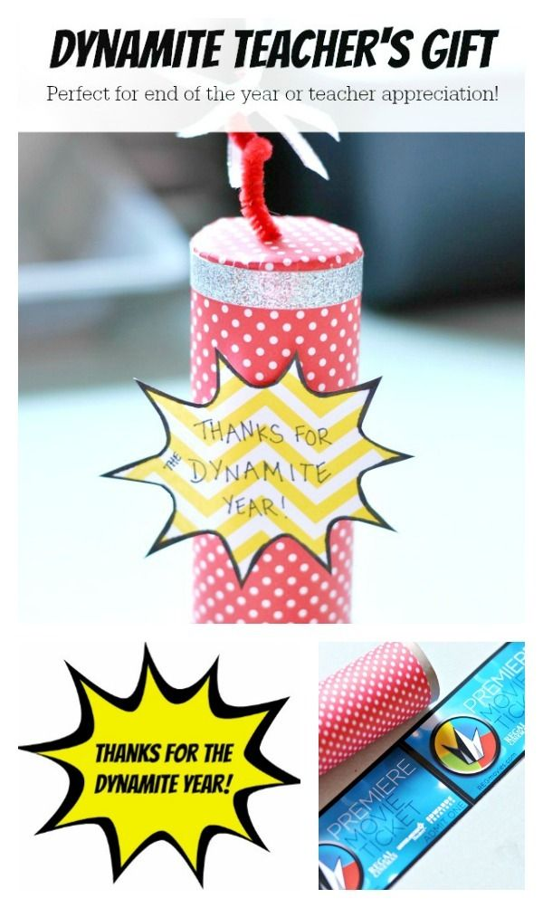 Looking for a last minute teacher's gift!?! This dynamite teacher's gift tube is perfect for movie tickets, etc! This would be a great craft for kiddos to show their teachers how much they appreciate them!