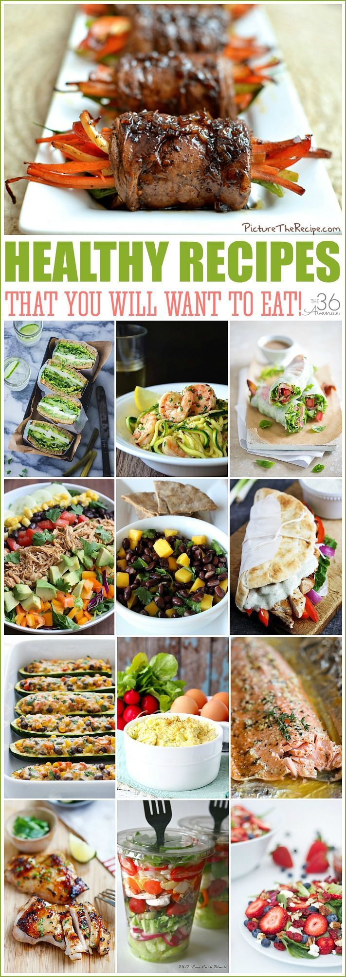 30 Healthy Recipes THAT YOU WILL WANT TO EAT!  If you are looking for low fat, low carbs, or easy and quick healthy recipes this post is for you!